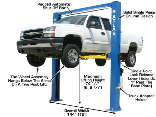 Atlas OH-10X Overhead 10,000 lbs  Capacity 2 Post Lift (EXTRA WIDE/EXTRA  TALL) – Race Tools Direct